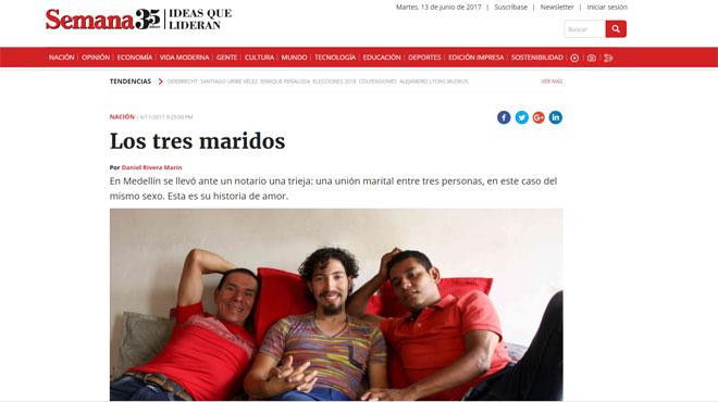 La Colombie reconnaît le mariage d'un « trouple » dans Les